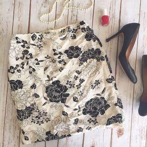 LOFT cream and black floral pencil skirt